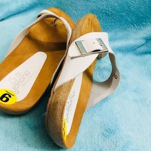 YOKONO Shoes - YOKONO white leather slide sandals